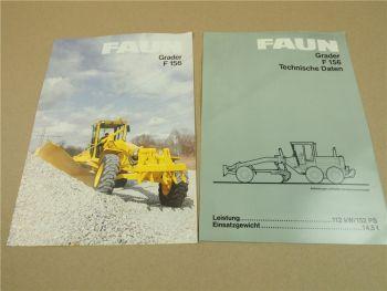 2 Prospekte Technische Daten FAUN F156 Grader von 1986