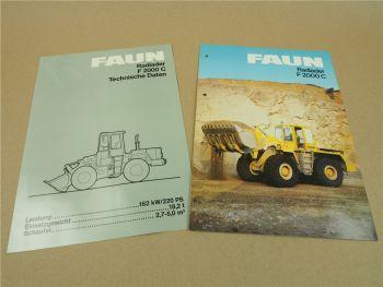2 Prospekte Technische Daten FAUN F2000C Radlader um 1984