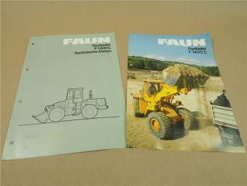 2 Prospekte Technische Daten FAUN F1400C Radlader 1980er Jahre