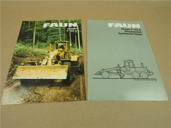 2 Prospekte Technische Daten FAUN F155 A Grader 1984