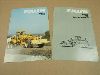 2 Prospekte Technische Daten FAUN F155 Grader 1984