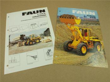 2 Prospekte Technische Daten FAUN F1110 Industrielader Radlader ca 1984
