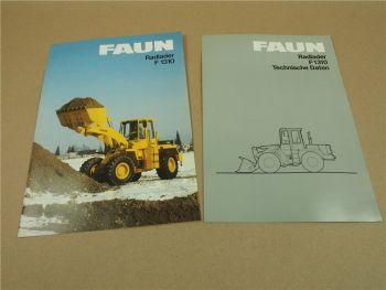 2 Prospekte Technische Daten FAUN F1310  Radlader von 1986