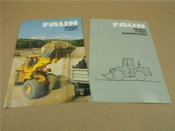 2 Prospekte Technische Daten FAUN F1400 C  Radlader von 1985