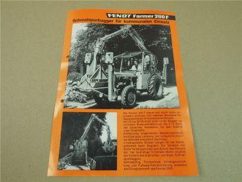 Prospekt Fendt Famer 200F Schmalspurbagger für kommunalen Einsatz 11/1975