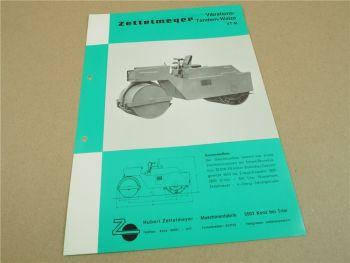 Prospekt Zettelmeyer VT M Vibrations Tandemwalze 1965