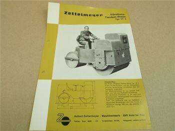 Prospekt Zettelmeyer VT 2 Vibrations Tandemwalze 1965