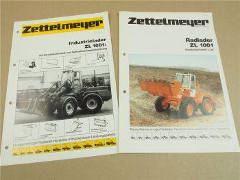 2 Prospekte Zettelmeyer ZL1001 Radlader und ZL1001i Industrielader von 1985/87