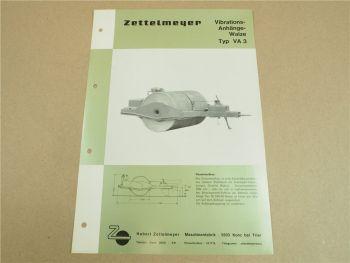 Prospekt Zettelmeyer VA3 Vibrations Anhängewalze 1965