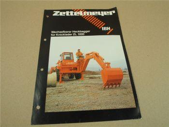 Prospekt Zettelmeyer IBH wechselbarer Heckbagger für Knicklader ZL1000 5/79