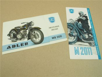 2 Prospekte Adler MB200 M2011 wohl 50er Jahre