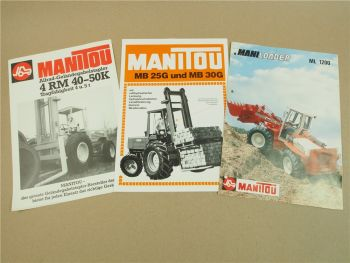 3 Prospekte Manitou MB25G MB30G 4RM40K 4RM50K ML1200 1978/85