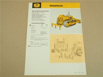 Prospekt John Deere Anbaugerät Heckaufreißer  für Laderaupen JD 350 450
