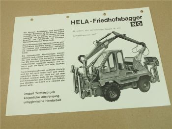Prospekt Lanz Hela NG Friedhofsbagger mit AL405 aus den 70er Jahren