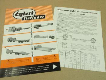 2 Prospekte Eylert Tieflader Anhänger AT62 AT80  AT200  mit Daten und Preisen