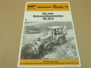 Prospekt Massey Ferguson MF 50D Baggerlader Mehrzweckbaumaschine 1982 Könicke