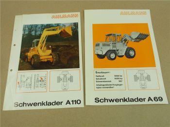 2 Prospekte Ahlmann A110 und A69 Schwenklader 1971