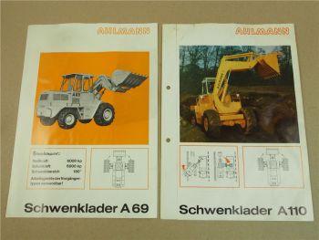 2 Prospekte Ahlmann A110 und A69 Schwenklader von 1971