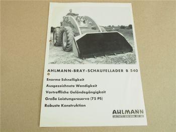 Prospekt Ahlmann Bray 540 Radlader Schaufellader mit 75 PS 1965
