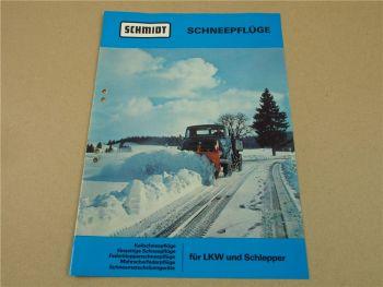Prospekt Schmidt Schneepflüge für LKW und Schlepper 6/1976 zB Unimog Hanomag T2