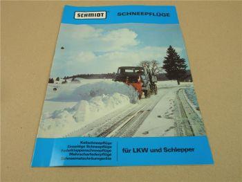Prospekt Schmidt Schneepflüge für LKW und Schlepper 1977 zB Unimog Hanomag T2