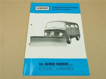 Prospekt Schmidt Federklappenschneepflüge 1971 für VW T2 Transporter