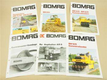 6 Prospekte Bomag Walzen BW 16R 20R 75SH 90SH 200 Re-Asphalter AR6 1981-85