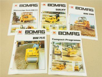 5 Prospekte Bomag BW75E BW200 BW211 Sulky Compct Programm Walzen 1977