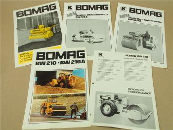 5 Prospekte Bomag BW210 A BW80S Compact BW220A BW1014A Walzen 60/70er