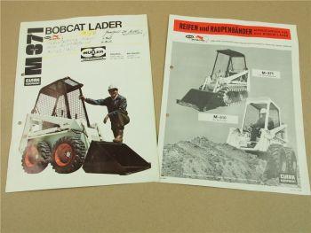 2 Prospekte Melroe Bobcat M371Lader und Reifen Raupenbänder Equipment 1976