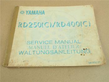 Werkstatthandbuch Yamaha RD250C RD400C Motorrad Reparaturanleitung 1976