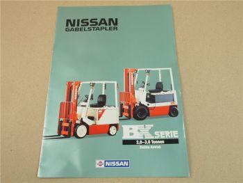 Prospekt Nissan 200 250 275 300 EL ELS REL REV BX Serie mit Elektroantrieb 1989