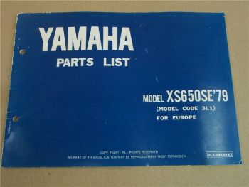 Yamaha XS650SE Model Year 1979 Type 3L1 for Europe Spare Parts List Catalog