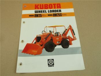 Prospekt kubota RW25 RW25S wheel loader with/without Backhoe von ca 1980