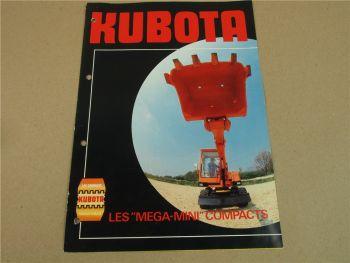 Prospekt kubota KH 5 KH8-2 14-2 16W 28 RW30 Mega-Mini Compacts 70er Jahre