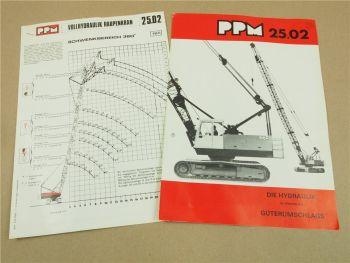 Prospekt Poclain PPM 25.02 Hydraulik Raupenkran und Traglastdiagramm 1973/74