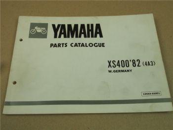 Yamaha XS400 1982 4A3 Spare Parts List Catalogue Ersatzteilliste