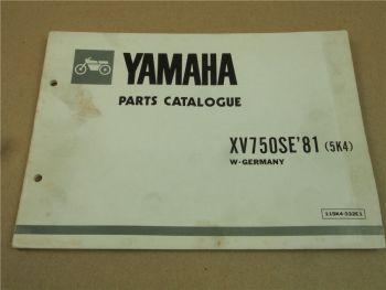 Yamaha XV750SE 1981 5K4 Spare Parts List Catalogue Ersatzteilliste