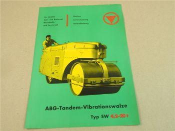 Prospekt ABG Vibrations Tandemwalze Typ SW 4,2 - 20t von 1960