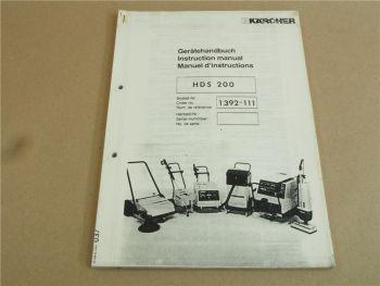 Kärcher HDS200 Betriebsanleitung und Ersatzteilliste ca 1986