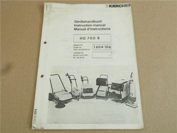 Kärcher HD700B Betriebsanleitung und Ersatzteilliste + Bedienungsanleitung Motor