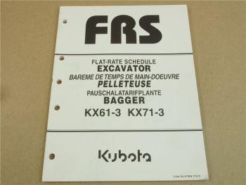 Kubota KX 61-3 71-3 Bagger Flatrate Schedule Pauschaltarifplan Ersatzteilbilder