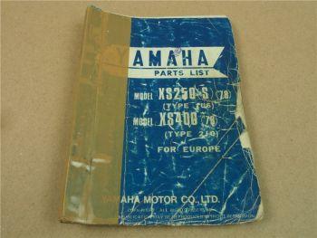 Yamaha XS250S 1978 1U5 / XS400 1978 2J0 Parts list Ersatzteilliste Teilekatalog