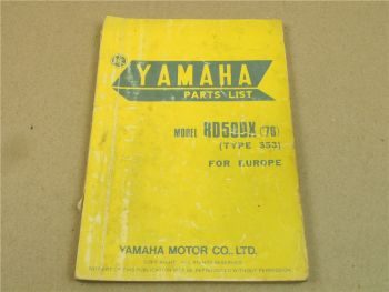 Yamaha RD50DX Model 1976 Type 353 Ersatzteilliste Spare Parts List Catalog