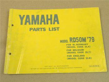 Yamaha RD50M 2L4 2L7 2L8 Parts list 1979 Ersatzteileliste Teilekatalog