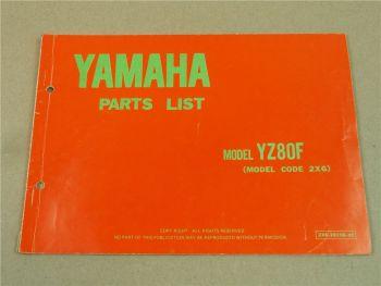Yamaha FYZ80F 2X6 Teilekatalog Ersatzteilkatalog Parts List 1978