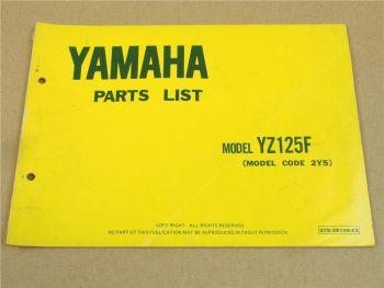 Yamaha YZ125F 2Y5 Teilekatalog Ersatzteilkatalog Parts List 1978