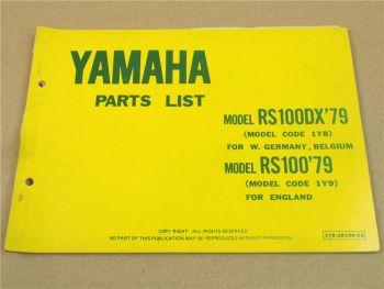 Yamaha RS100DX 1Y8 RS100 1Y9 1979 Teilekatalog Ersatzteilkatalog Parts List