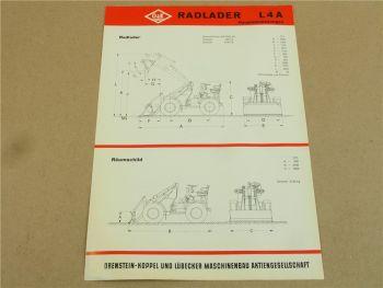 Prospekt O&K L4A Radlader und Anbaugeräte Kehrmaschine Tieflöffel Hubstapler 67