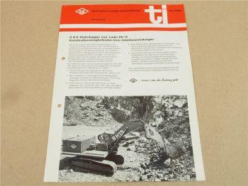 Prospekt O&K RH6 Hydrobagger und Hydrolader Kundendienst Information 1968